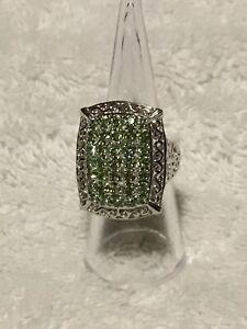 Silver Plated Simulated Peridot/ Diamond Ring New Size M