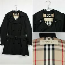 BURBERRY BRIT Double Breasted Trench Coat Belted Black Mens Size S