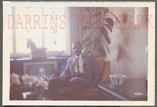 Unusual Vintage Photo Black Man w/ Cute Boy on TV Television Screen 730305