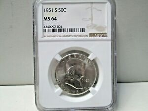 1951 S US Franklin Silver Half Dollar NGC MS 64