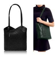 Handbag Black Ladies Italian Leather Ostrich Effect Womens Shoulder Bag Backpack