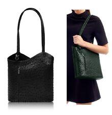 Neues AngebotHandtasche Damen Schwarz Schultertasche italienische Leder Rucksack Damen Strauß Effekt