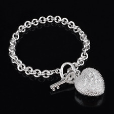 925 Silver Plated Bracelet Crystal Heart Key Pendant Charm Bangle Hand Chain