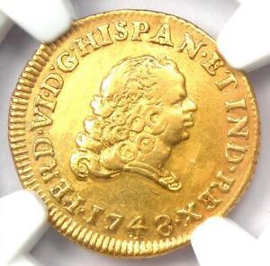 1748-MO MF Mexico Gold Ferdinand VI Escudo - Certified NGC AU Detail - Rare Coin