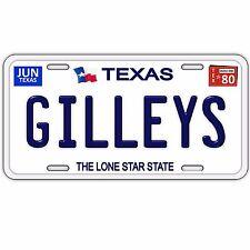 Gilleys Nightclub Bar 1980 Texas 100% Aluminum License Plate Tag Navy Blue Text