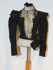 Victorian ca 1880's Black Silk faille Bodice w Dotted Net / Braid Trim SM b- 36