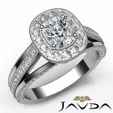 Cushion Diamond Pre-Set Milgrain Engagement Ring GIA E VS1 18k White Gold 1.62Ct