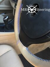 FOR MERCEDES 320 W124 BEIGE LEATHER STEERING WHEEL COVER LIGHT BLUE DOUBLE STCH