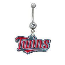 Belly Ring MLB Baseball Minnesota Twins Logo Sports Dangle Naval Body Jewelry
