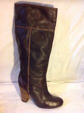 Ladies Brown Knee High Leather Boots Size 7