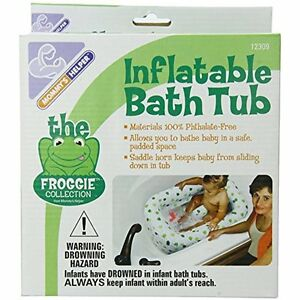 Mommy&39s Helper Inflatable Bath Tub Froggie Collection, White/Green, 6-24 Baby
