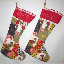 Pair Vintage Handmade Christmas Stockings Floral Patchwork Theme Cinde & Clinton