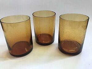 Artland Iris Amber Lowball Glasses Mid century Vintage Set of 3