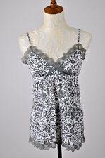 Charlotte Russe Floral Print Top Cami Blouse Empire Waist Cotton Lace Gray Sz S