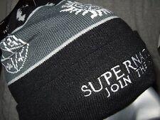 NWT Black Supernatural Join The Hunt Symbol Pom Watchman Knit Beanie Hat Ski Cap