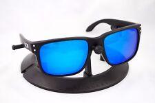 OAKLEY HOLBROOK MATTE BLACK SILVER FRAME / REVANT ICE BLUE POLARIZED CUSTOM LENS