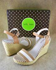 KELLY & KATIE Wedge Sandals Espadrille SASSA Beige White Stripe 7.5