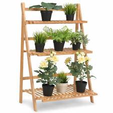 Multifunction 3 Tier Folding Shelf Stand Bamboo Flower Pot Display Rack Bookcase
