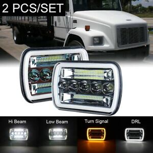 "Pair 240W 7x6"" H4 LED Headlight HI/LO Beam Fits Freightliner FL 50 60 70 80 112"