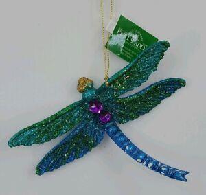 Kurt Adler Green Blue Peacock Glitter Dragonfly Christmas Ornament