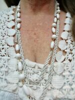 """Vintage 1950's White Metal & Lucite Bead Necklace 56"""""""
