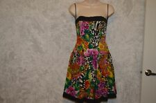 A.J. BARI bold colors  Reggae,Hawaiian Silk Strapless Dress SZ 4  #227