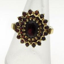 Vintage 9 Carat Yellow Gold Garnet Set Cluster Ring Size O, 6 grams