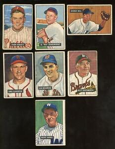 1951 Bowman - Lot of 7 Hall of Fame Stars