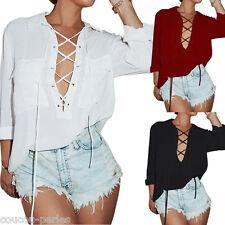 Sexy Women Lace-up Neck Shirt Long Sleeve Chiffon Blouse Casual Tee Tops Dress