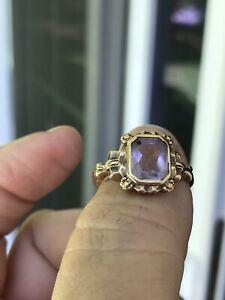 Antique Victorian 10 Karat Yellow Gold Amethyst Ring Beautiful