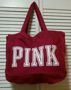 New! Victoria's Secret PINK Canvas Burgundy Gym & Beach Tote Oversized Bag