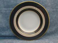 "Royal Jackson 8"" Soup Bowl Dark Blue Gold Trim L43"
