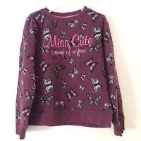 Dopodopo Girls Butterfly Sweater Size 7-8 Years Long Sleeves Purple Crew Neck