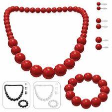 SET Perlenkette + Armband + 3 Paar Ohrstecker rot schwarz weiß 50 er Halskette