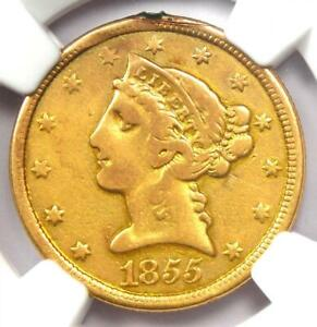 1855-O Liberty Gold Half Eagle $5 Coin - Certified NGC VF Details - Rare Date!