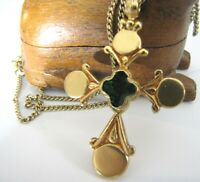 "Vintage Byzantine Cross Alva Museum Replicas Pendant Necklace 24"" Gold Plate"