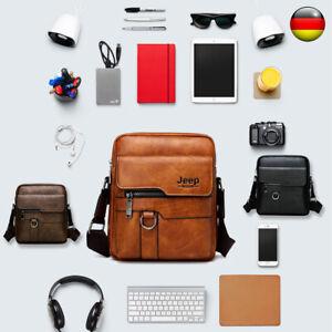 Herren Schultertasche Echt Leder Umhängetasche Handtasche Braun Messenger Tasche