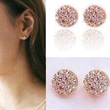 Womens Fashion Jewelry Full Crystal Rhinestone Round Ear Stud Earrings Gift
