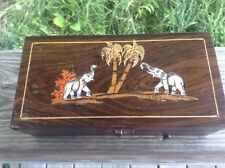 Vintage Wooden Handmade Inlaid Inlay Trinket Jewelry Box