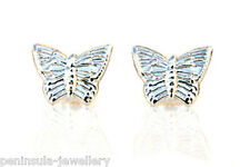 9ct White Gold Butterfly Earrings studs Gift Boxed Made in UK