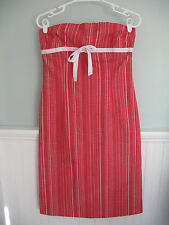 Ruth for Anthropologie Red/Pink Striped Strapless Dress - Size 8