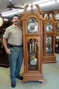 "Hermle 41376 Solid OAK Grandfather Clock German Triple Chime Floor 85.5"" Tall"