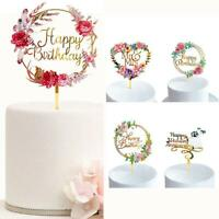 Flower Happy Birthday Cake Topper Acrylic Birthday Wedding Party Dessert Decor