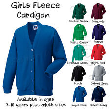Girls School Fleece Cardigan Sweatshirt Uniform Age 2 3 4 5 6 7 8 9 10 11 12 13