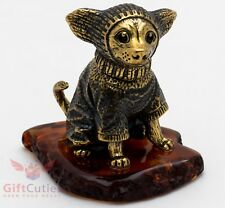 Solid Brass Amber Figurine of Chihuahua Dog & raincoat ready for a walk IronWork