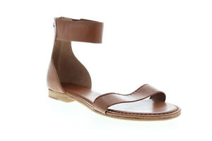 Frye Carson Ankle Zip 72114 Womens Brown Leather Adjustable Strap Flats Shoes