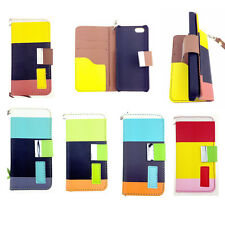MULTI COLOURED STRIPE LEATHER WALLET Stand CASE FOR Smart Phone UK FREE DISPATCH