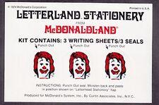 "US 1974 McDonald's ""Letterland Stationery"" Set of 3 w/Sticker Seal Mint SCARCE!"