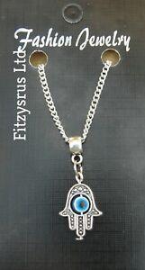 "Hamsa Turkish Evil Eye Necklace 24"" Inch Chain Hand of Fatima Pendant"