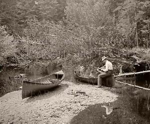 8x10 sepia photo: Adirondacks NY fisherman lake stream river canoe 1902 fishing
